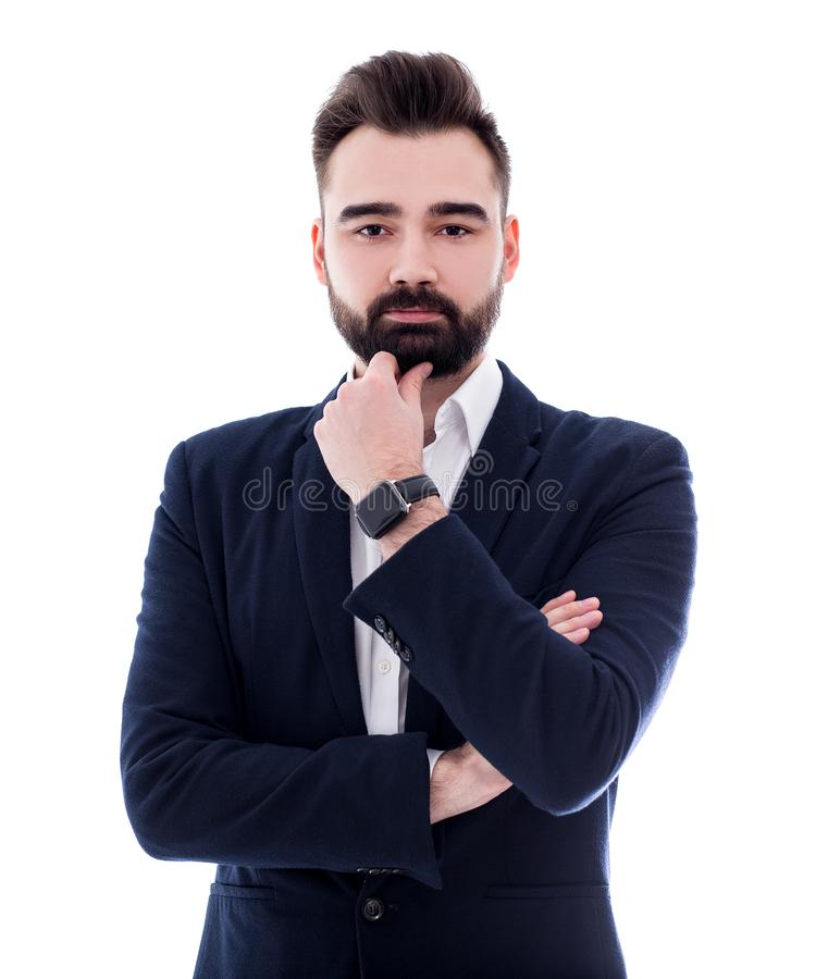 Portrait of young bearded businessman isolated on white stock photo