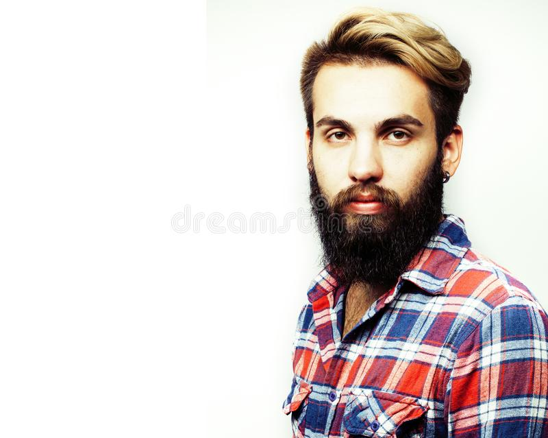 Portrait of young bearded hipster guy smiling on white background closeup isolated, lifestyle real modern people concept stock photo