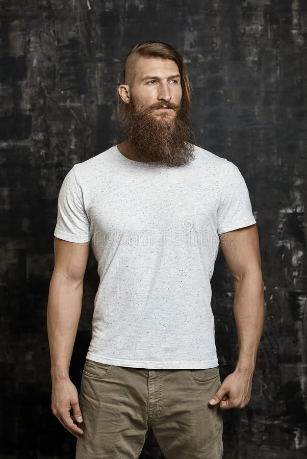 Portrait of a young bearded man royalty free stock photography