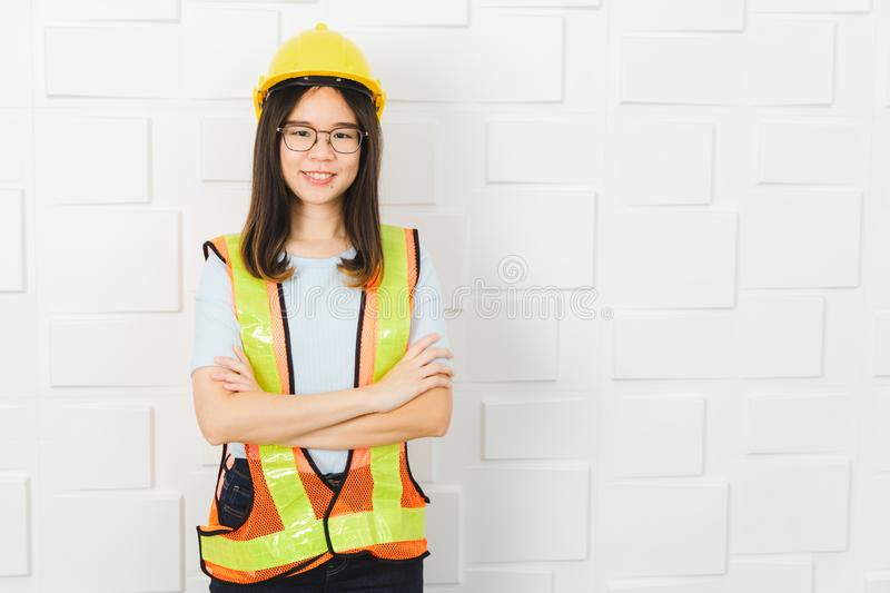 Asian architect lady at office royalty free stock photo