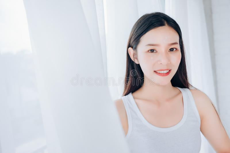 Portrait of Young Beautiful Asian woman clear face royalty free stock photos