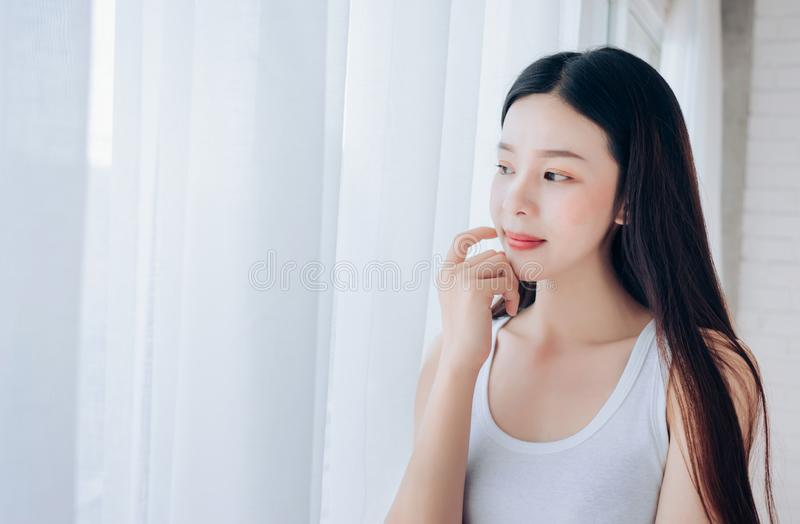 Portrait of Young Beautiful Asian woman clear face royalty free stock images