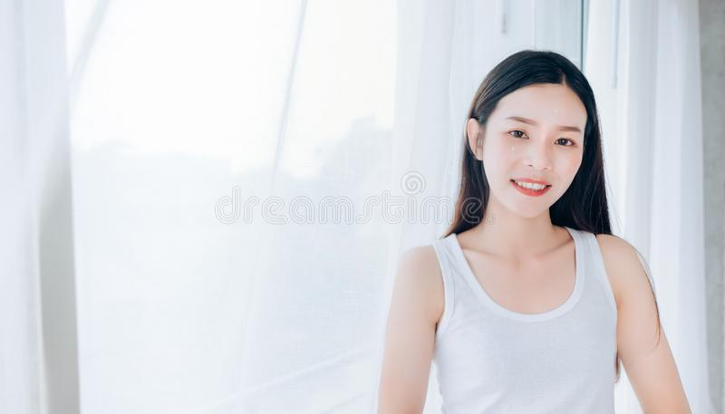 Portrait of Young Beautiful Asian woman clear face royalty free stock photo