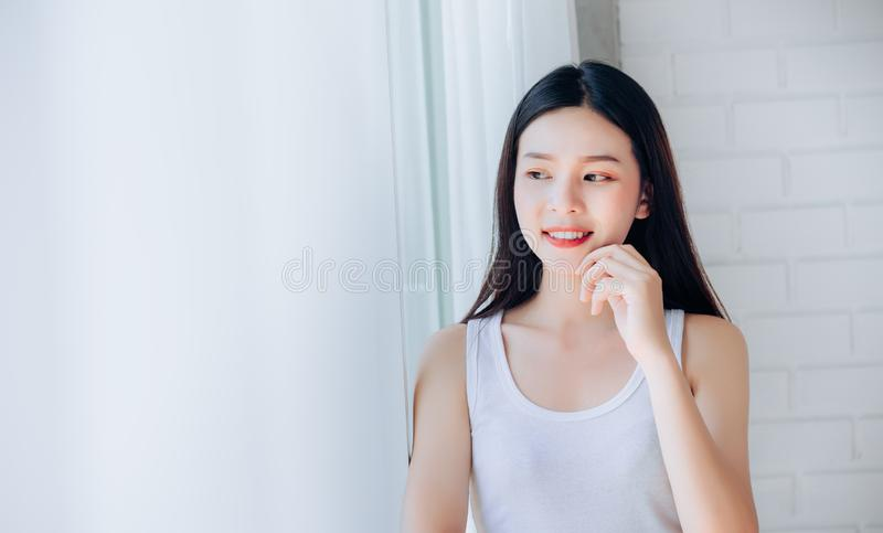 Portrait of Young Beautiful Asian woman clear face stock photo