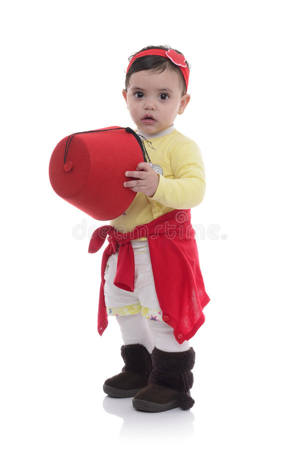 Portrait of Young Beautiful Baby Girl with Tarboosh stock images
