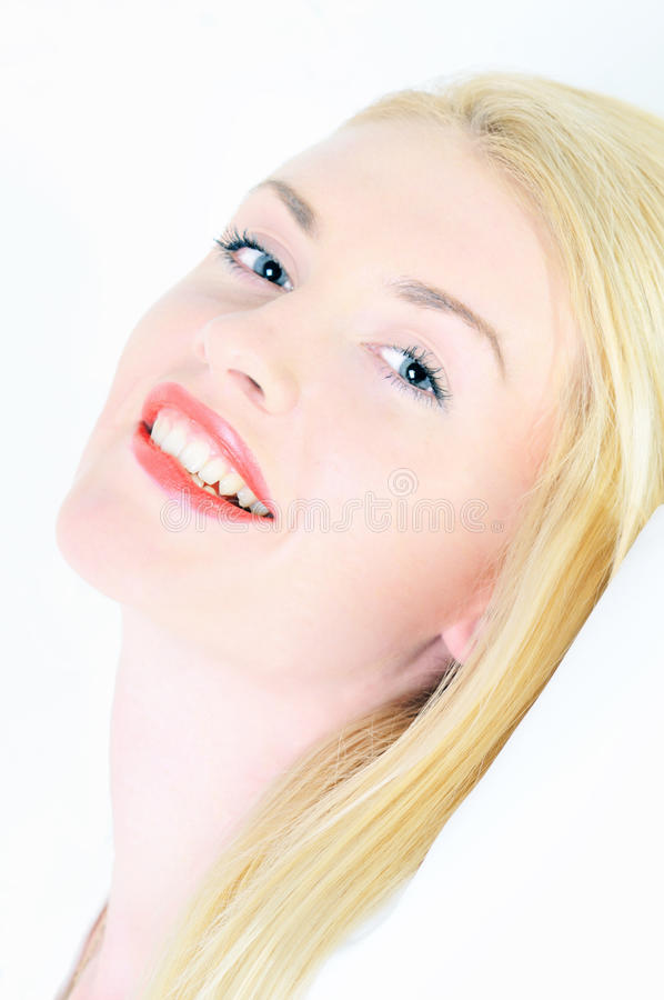 Portrait of young beautiful blond woman stock image