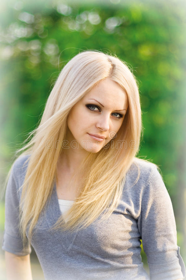 Portrait of the young beautiful blonde royalty free stock images