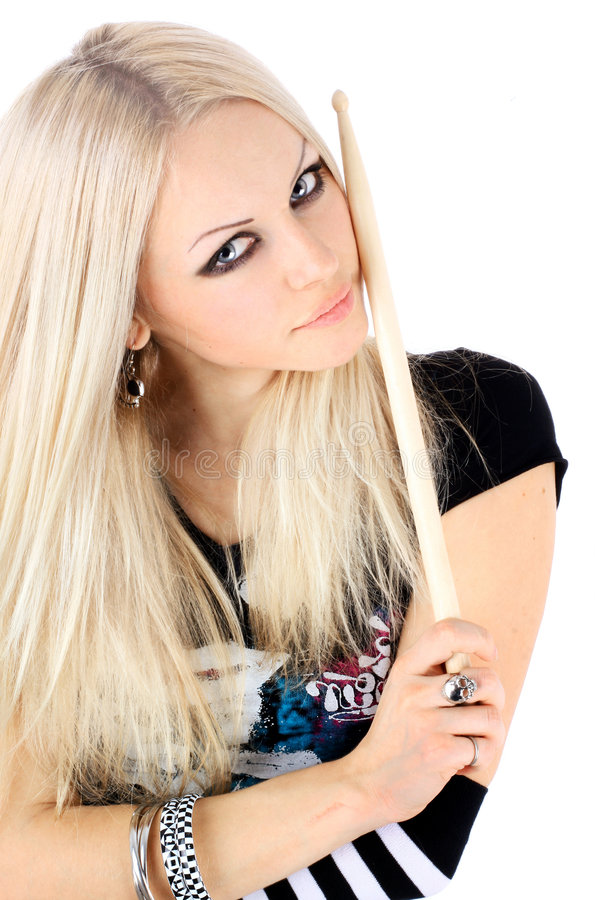 Portrait of the young beautiful blonde stock images