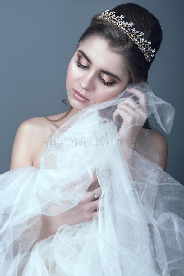 Portrait of young beautiful bride in diadem with naked shoulders touching fluffy skirt of her wedding dress with her cheek stock images