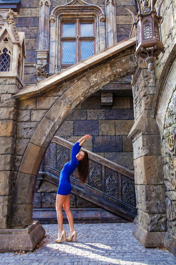 Portrait young beautiful brunette woman in blue dress posing against the backdrop of an old castle in the Gothic style. Full-length portrait young beautiful royalty free stock photo