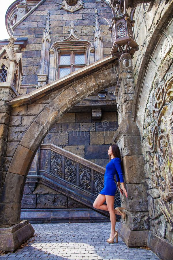 Portrait young beautiful brunette woman in blue dress posing against the backdrop of an old castle in the Gothic style. Full-length portrait young beautiful stock images