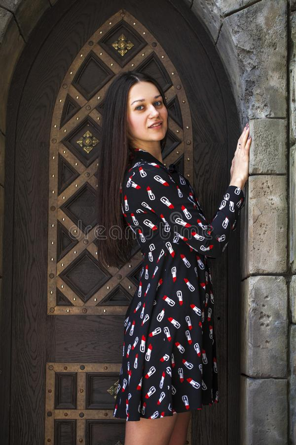 Portrait young beautiful brunette woman in dress posing against the backdrop of an old castle in the Gothic style. Close up portrait young beautiful brunette royalty free stock image