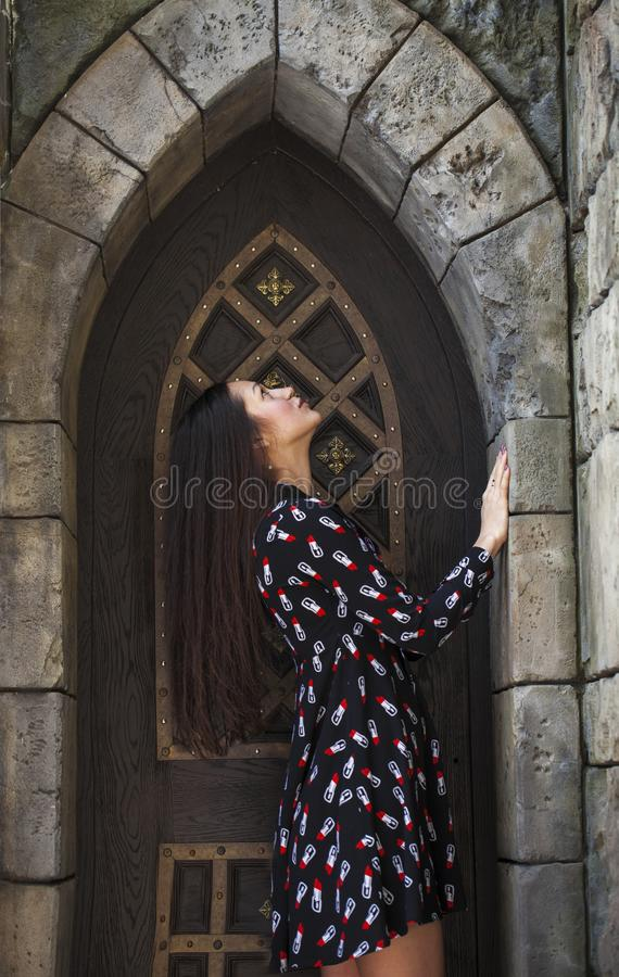 Portrait young beautiful brunette woman in dress posing against the backdrop of an old castle in the Gothic style. Close up portrait young beautiful brunette stock photo