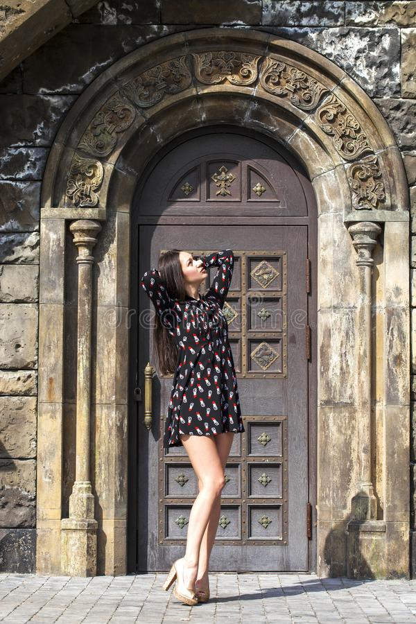 Portrait young beautiful brunette woman in dress posing against the backdrop of an old castle in the Gothic style. Full body portrait young beautiful brunette royalty free stock photo