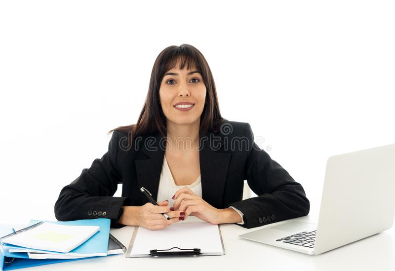Portrait of a young beautiful business woman happy and confident stock photos