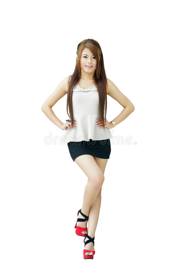 Portrait young beautiful casual woman standing isolated against royalty free stock photos