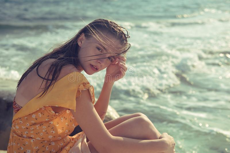 Portrait of a Young beautiful caucasian blond at the beach royalty free stock photos