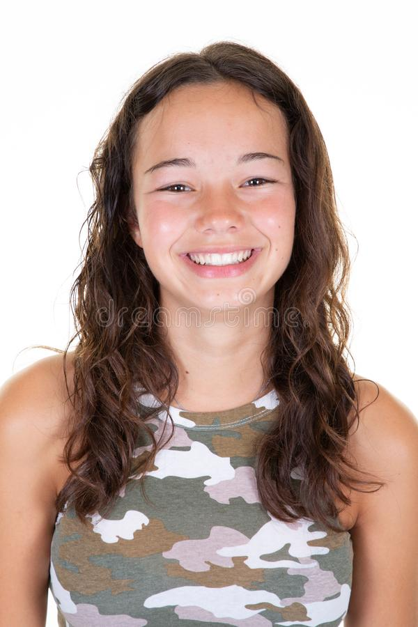 Portrait of young beautiful caucasian teenage in army t-shirt cheerfuly smiling looking camera in studio photo isolated on white. A Portrait of young beautiful royalty free stock images