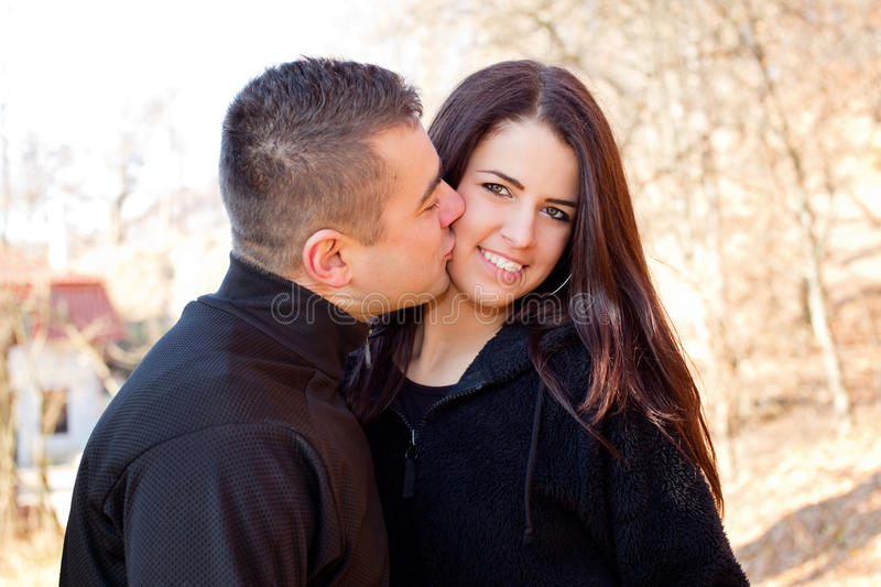 Portrait of young beautiful couple in love royalty free stock photography