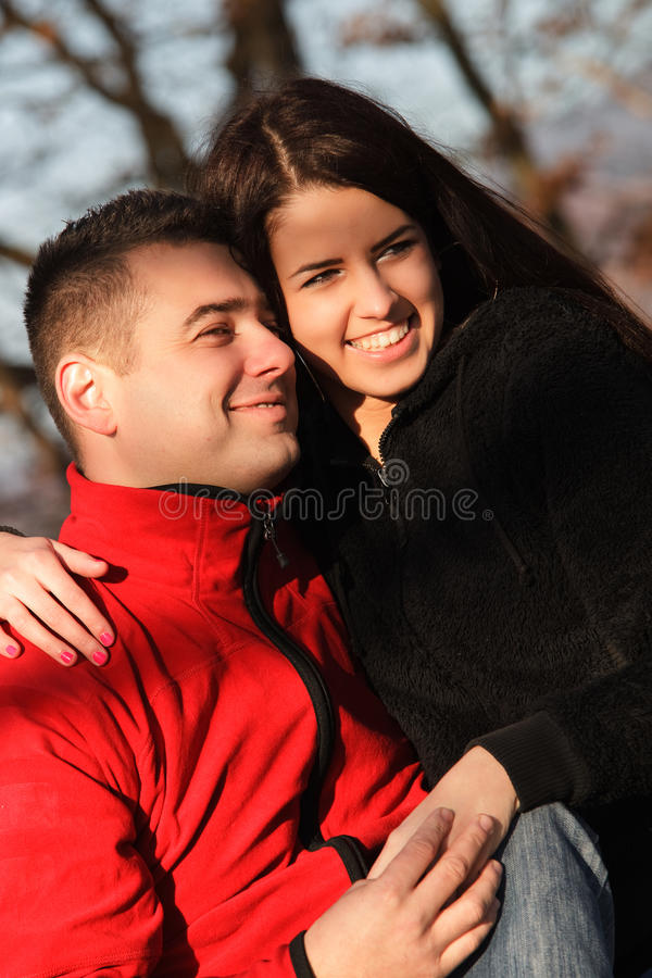 Portrait of young beautiful couple in love stock image