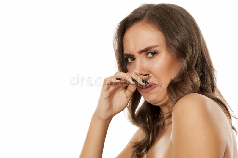 Beautiful disgusted woman stock photography