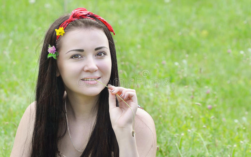 Portrait of a young, beautiful girl, brunette with flowers in her hair and scarf stock images