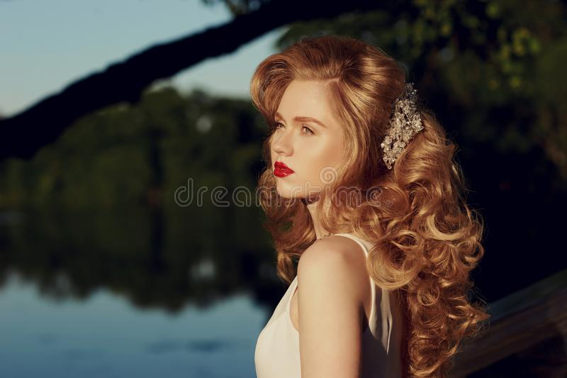 Portrait of young beautiful girl with hairstyling royalty free stock images