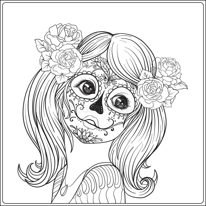 Portrait of a young beautiful girl in Halloween or Day of the De vector illustration