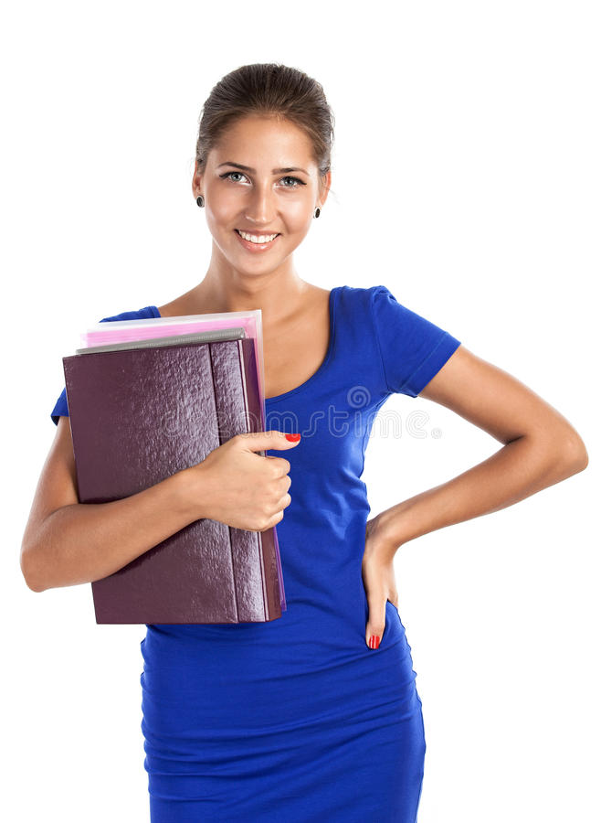 Download Portrait Of A Young Beautiful Girl Holding Files Stock Image - Image: 26438169