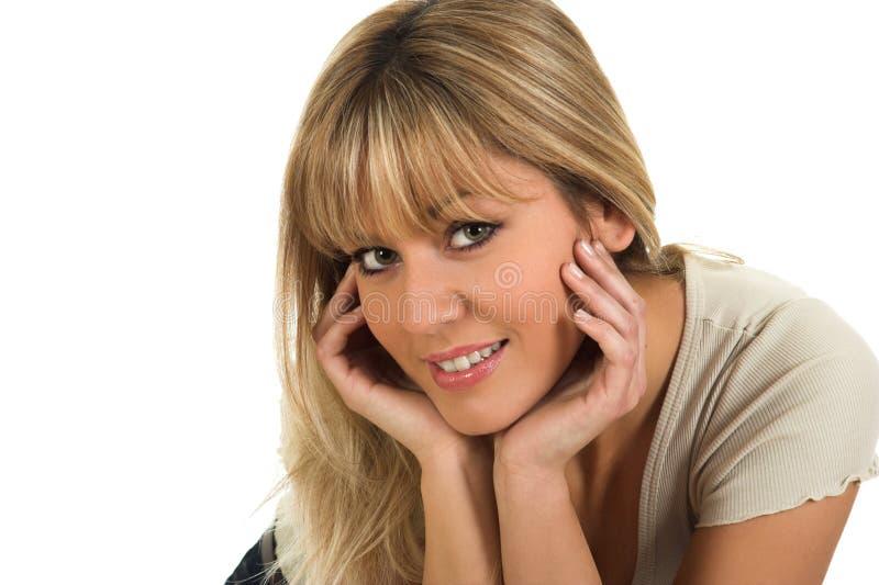 Closeup portrait of young beautiful girl posing stock photos