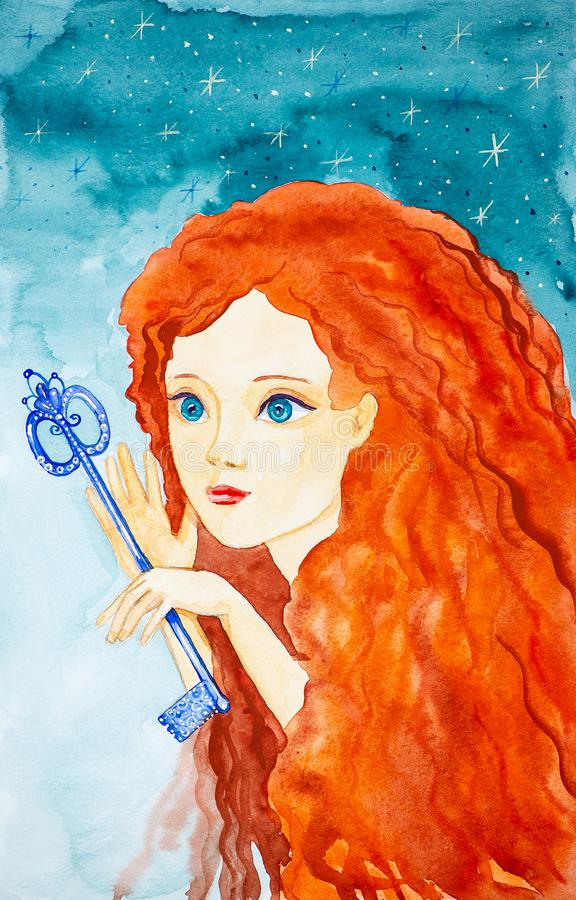 Portrait of a young beautiful girl with long red hair. The girl is holding a fabulous key.Watercolor illustrations on the royalty free illustration