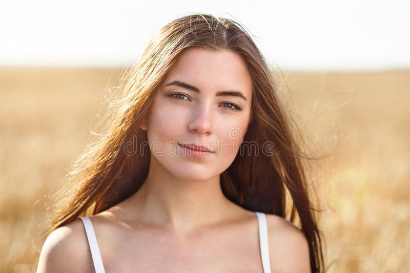 Portrait of the young beautiful girl posing against the background of the wheat field in the warm solar morning royalty free stock photography