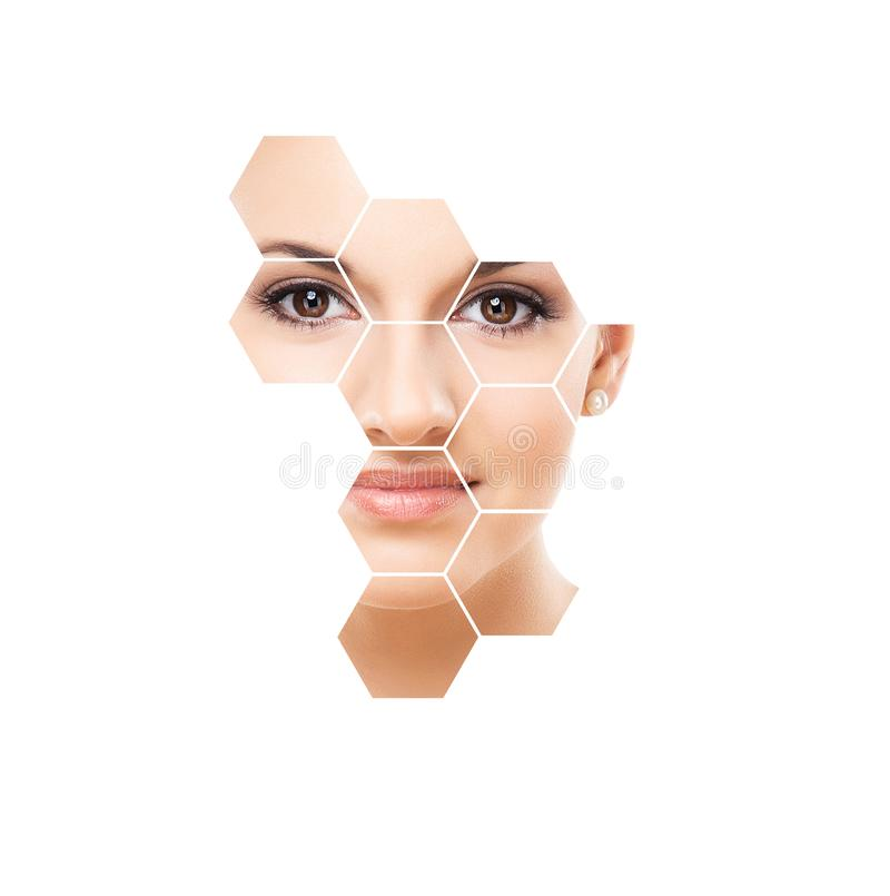 Beautiful face of young and healthy girl. Plastic surgery, skin care, cosmetics and face lifting concept. stock photography