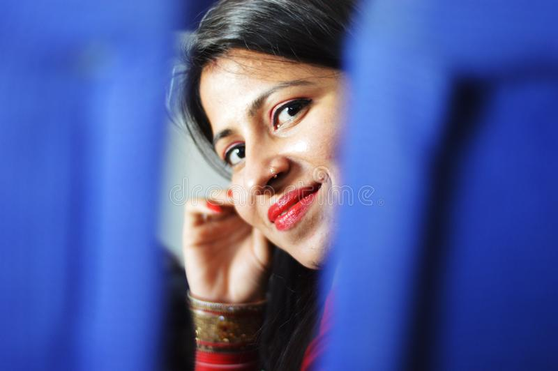 Portrait of a young and beautiful indian girl. stock photography