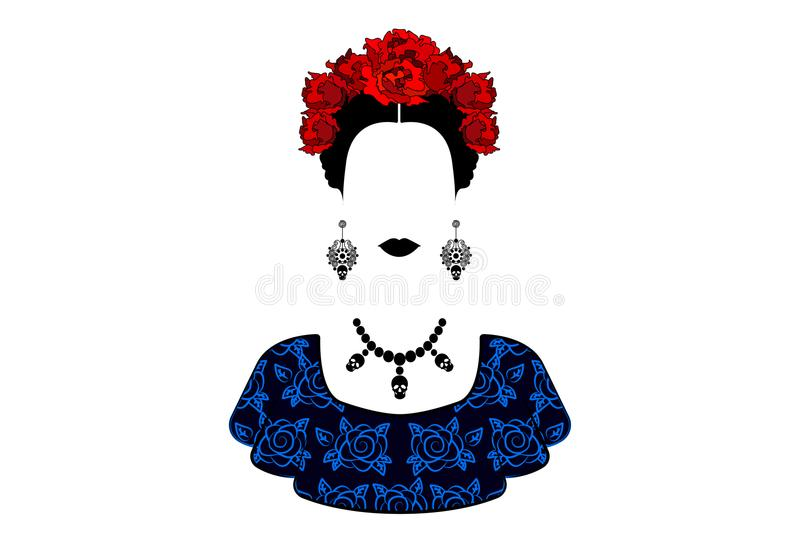 Portrait of the young beautiful mexican woman style with a traditional hairstyle. vector illustration