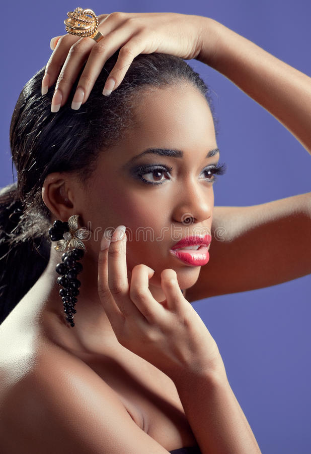 Portrait of a young beautiful sensual black woman royalty free stock image
