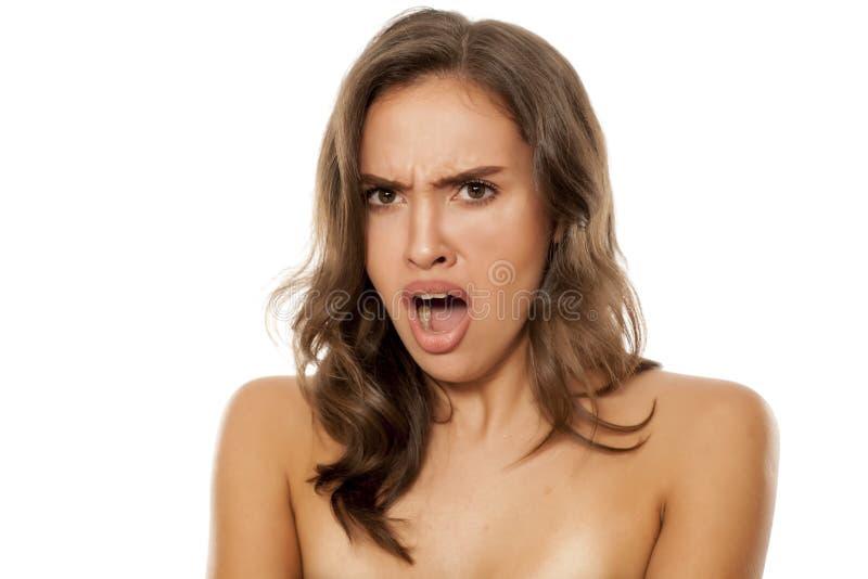 Beautiful shocked woman royalty free stock photos