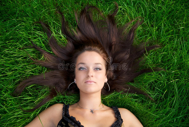 Portrait of a young beautiful woman stock image
