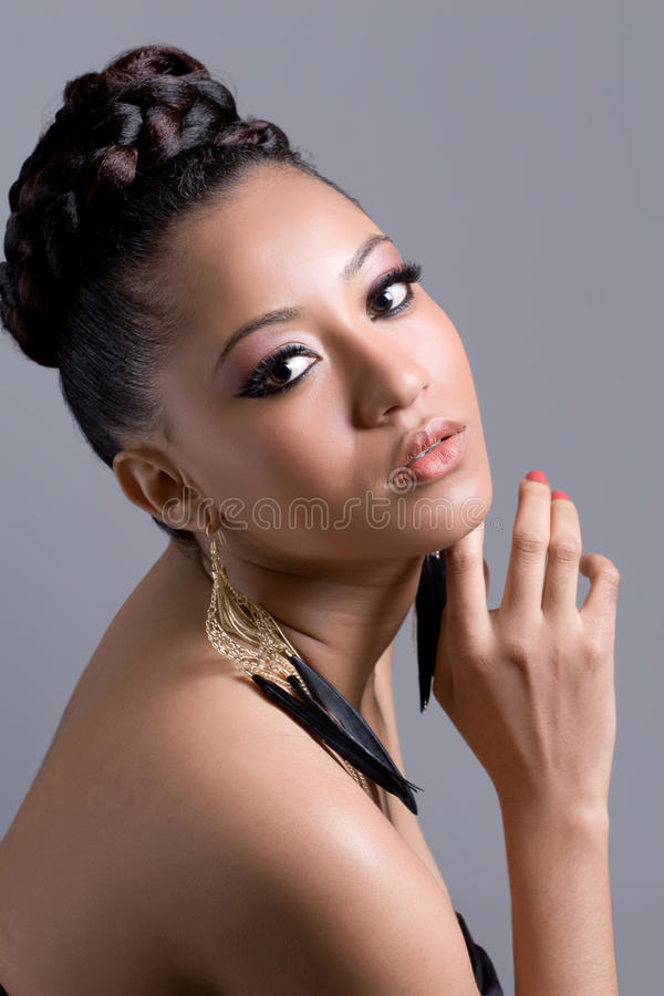 Portrait of a young beautiful woman stock photos