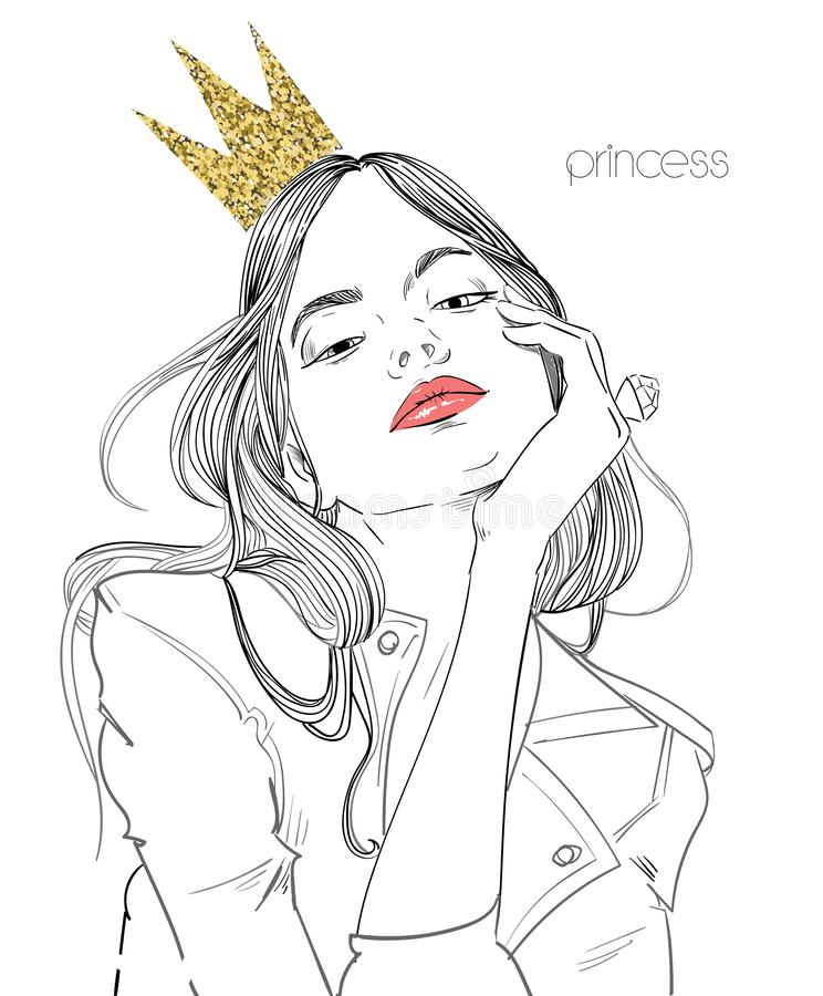 Young beautiful woman with crown. Portrait of young beautiful woman with crown vector illustration