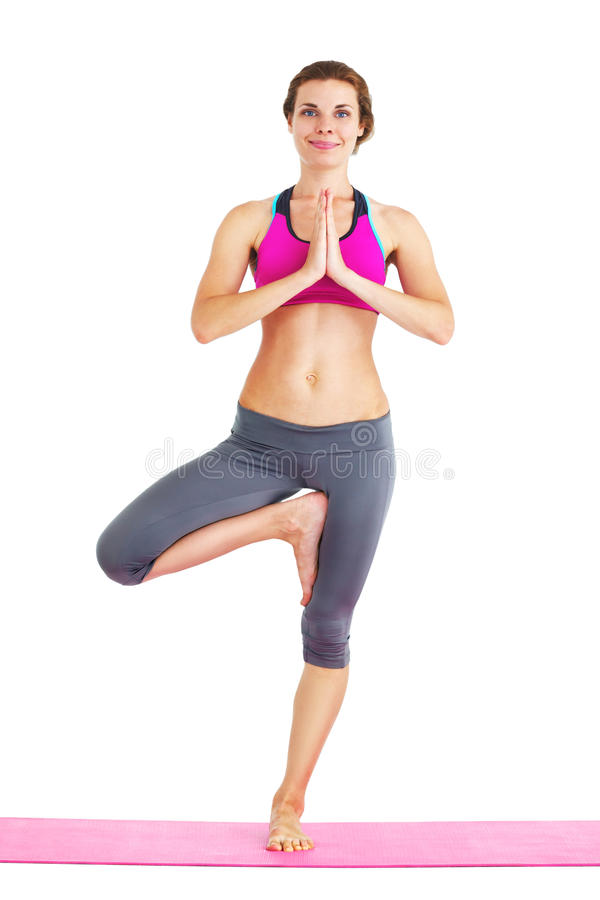 Portrait of young beautiful woman doing yoga - isolated. stock images