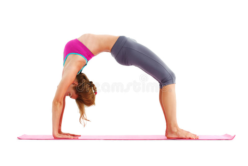 Portrait of young beautiful woman doing yoga - isolated. royalty free stock photography
