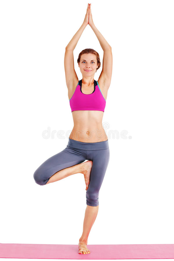 Portrait of young beautiful woman doing yoga - isolated. stock photos