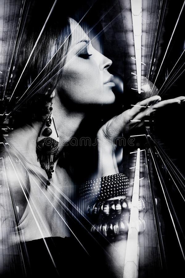 Portrait of young beautiful woman double exposure royalty free stock images