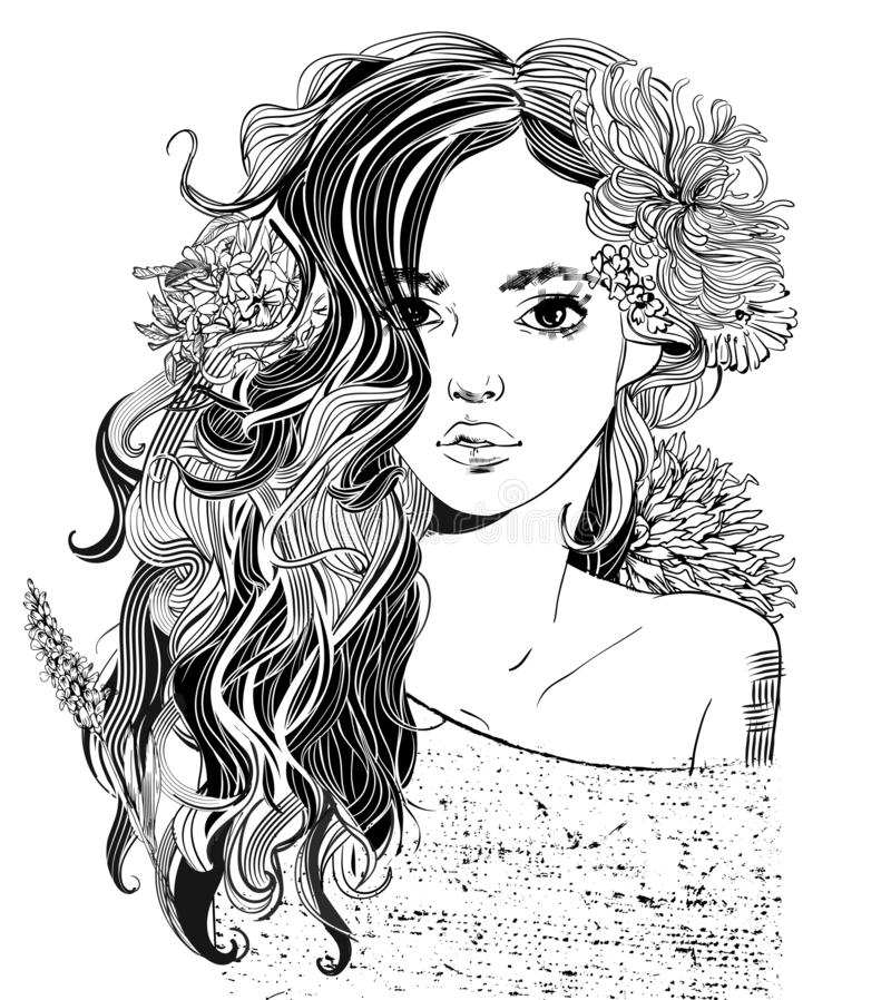 Portrait of young beautiful woman with flowers stock illustration
