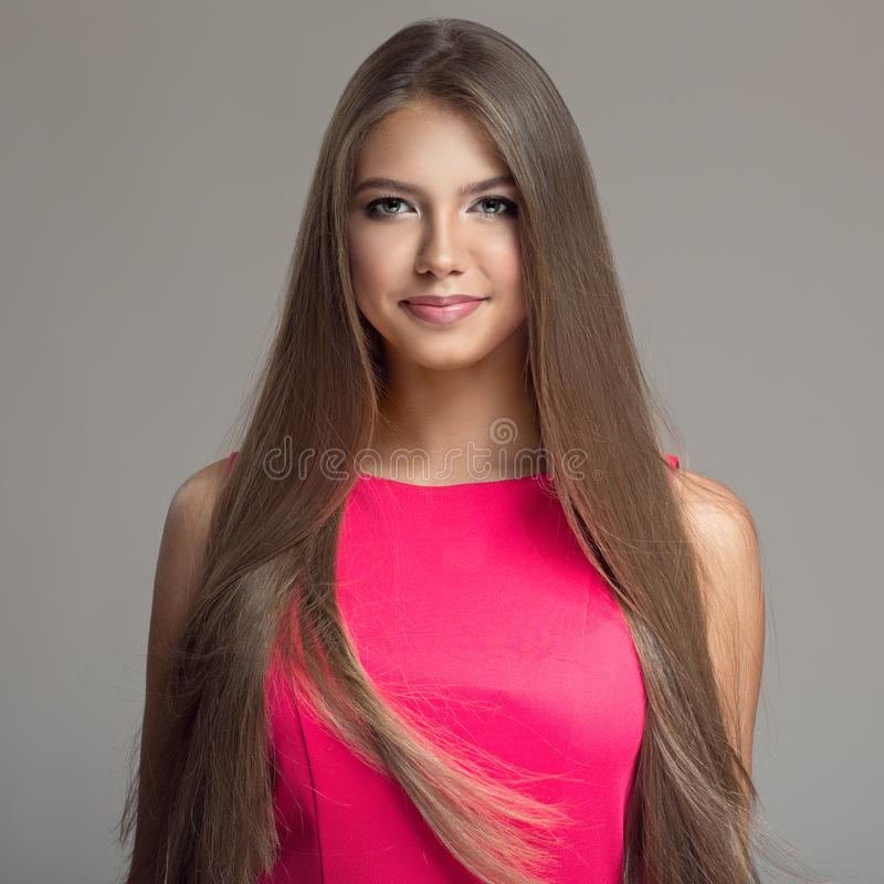 Portrait of young beautiful woman. Long hair. royalty free stock photo