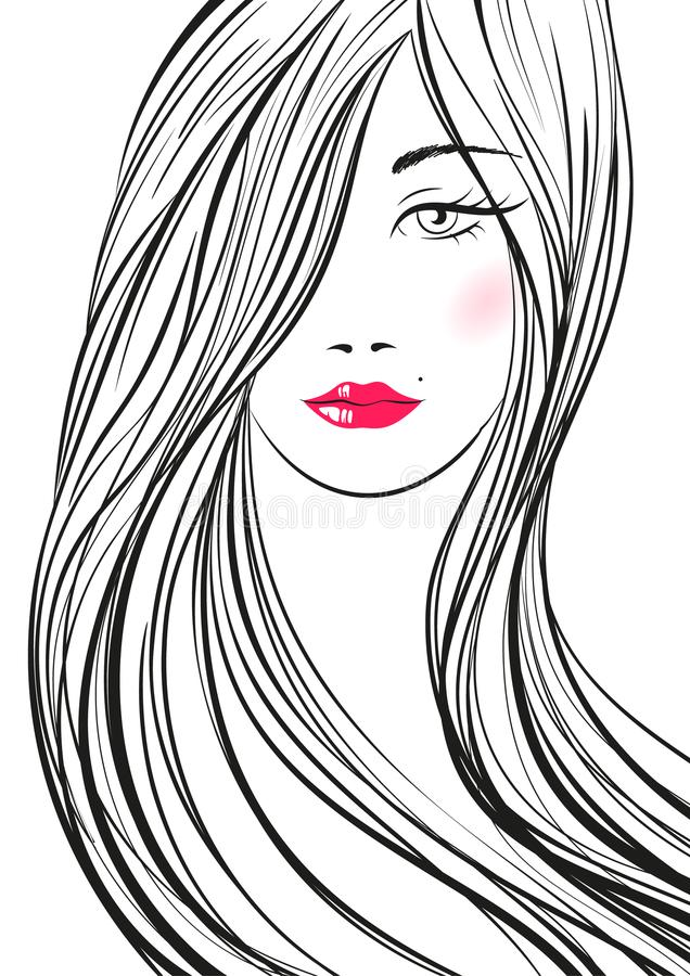 Portrait of young beautiful woman with long hair. Hand drawn girl with red lips. Vector digital drawing. stock illustration