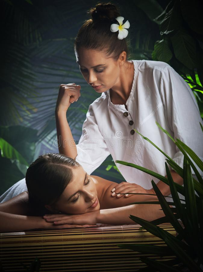 Portrait of young beautiful woman in spa stock photos