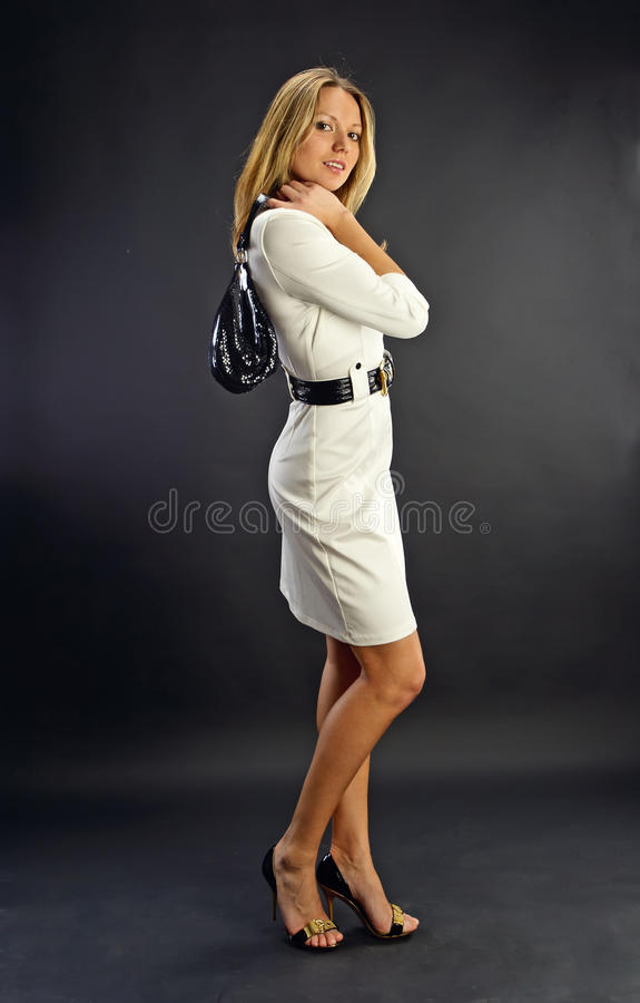 Portrait of young beautiful woman in studio stock photos