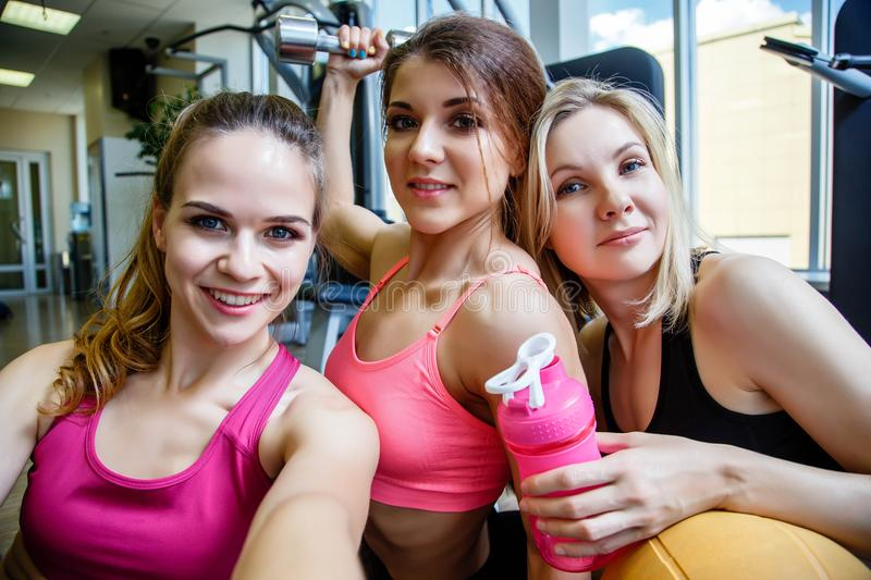 Portrait of young beautiful women at the gym. royalty free stock photography